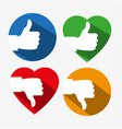 a set of colorful thumbs up and down icons with vector image vector image