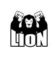Angry lion Aggressive wild beast Logo big leo Evil vector image vector image