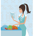 Beautiful lady cooking chicken vector image vector image