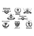 billiards poolroom sport tournament badges vector image vector image