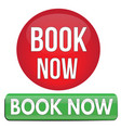 book now round and square website glossy button vector image vector image
