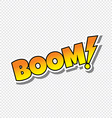 boom cartoon text sticker vector image vector image