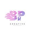 bp b p zebra lines letter logo design with vector image