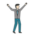 business man character standing avatar color vector image vector image