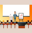 business seminar speaker doing presentation and vector image