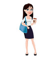business woman with brown hair cartoon character vector image vector image