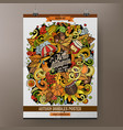 cartoon hand drawn doodles autumn poster design vector image vector image
