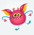 cartoon pleased funny monster dancing vector image vector image