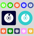 CD or DVD icon sign 12 colored buttons Flat design vector image