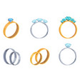 collection of engagement rings with precious stone vector image vector image