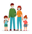 family in protective face masks against pollution vector image vector image