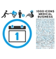 First Day Icon with 1000 Medical Business Symbols vector image