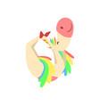 funny unicorn practicing yoga exercise fantasy vector image vector image