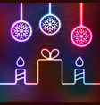 glowing icon gift box candles balls vector image