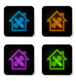 glowing neon house or home with screwdriver and vector image vector image