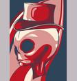 grey alien head with hat vector image