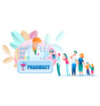 Group people standing line pharmacy