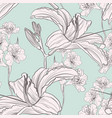 hand drawn lilies flowers seamless pattern vector image vector image