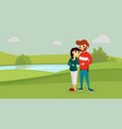 happy family in the park vector image vector image