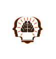 head person with brain in book for logo vector image vector image