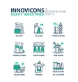 Heavy industry line design icons set vector image vector image