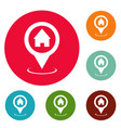 home map pointer icons circle set vector image vector image