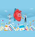 human heart medicine health pills drug capsule vector image vector image