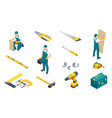 large set construction tools drill hammer vector image