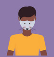 man wearing protective mask with mouse face smog vector image