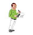 man writing notes vector image