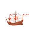 old wooden ship with shields and sails with red vector image vector image