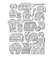 ornate elephant collection sketch for your design vector image vector image