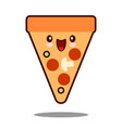 pizza cartoon character icon kawaii fast food flat vector image vector image
