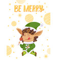 postcard with elf hero and wishes be merry vector image vector image