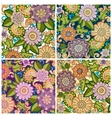 Set of colored hand drawn patterns with flowers vector image vector image