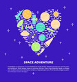 space theme concept banner in line style vector image vector image
