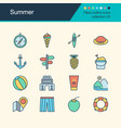summer icons filled outline design collection 20 vector image vector image
