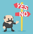 two road signs yes or no choice vector image