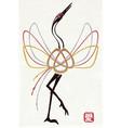 wedding card with traditional mizuhiki node crane vector image