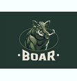 wild boar with tusks vector image vector image