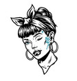 winking woman head with tattoos vector image vector image