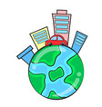 world with building environment doodles vector image vector image