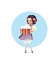 Attractive woman in dirndl with beers vector image