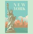 nyc and statue of liberty with skyscrapers vector image