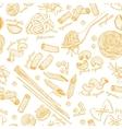 hand drawn pasta pattern Vintage line art vector image
