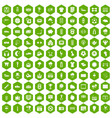 100 soccer icons hexagon green vector image vector image
