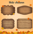 4 realistic wooden signs set decoration elements vector image vector image