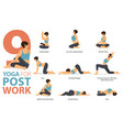 9 yoga poses for post work concept vector image vector image
