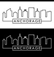 anchorage skyline linear style editable file vector image vector image