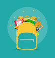 bag backpack icon with school accessories vector image vector image
